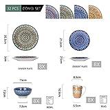 Vancasso Tafelservice Porzellan, Mandala 32 teiliges Essgeschirr Kombiservice, handbemaltes Geschirrset für 8 Personen, böhmischer Stil - 2