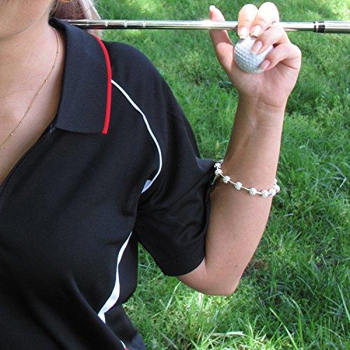 GolfGoddessゴルフボールビーズストローク/スコアカウンターブレスレットシルバー
