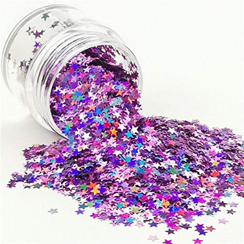3mm étoiles paillettes ultraminces Nail Art paillettes étoiles Paillette Eo-Friendly PET Sequin Set Nail Decoratin manucure artisanat paillettes 8g, laser rose violet