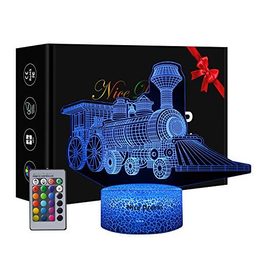 3D Luz nocturna para niños, Regalos para los amantes del tren, 16 colores y mando a distancia, Luz de alimentación, Regalo chico