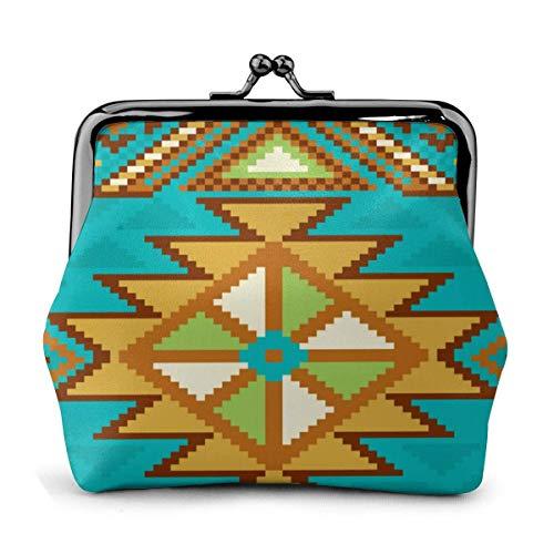 Native Aztec Tribal Turquesa Patrón de la alfombra monedero de cuero con...