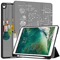 """MAITTAO iPad Air 3 (3rd Gen) 10.5"""" 2019 / iPad Pro 10.5"""" 2017 Case with Apple Pencil Holder,Soft TPU Back Shell Folio Stand Smart Cover 10.5 inch Tablet Sleeve Bag 2 in 1 Bundle, Creative Bulb 5"""