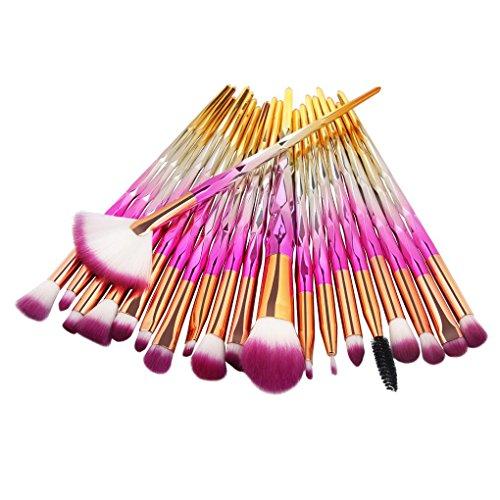 Lidahaotin 20pcs/Set Fibre Fard Pinceau de Maquillage Fondation Fard à Paupières Poudre Brosses cosmétiques Contour Blending Kit 4#