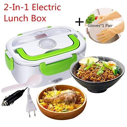 Nifogo Scaldavivande Portavivande Elettrico 2-in-1 Lunch Box Portatile Acciaio Inox 12V / 220V con Cucchiaio e 2 Scomparti per Campeggio Auto Ufficio (Verde + Guanti)