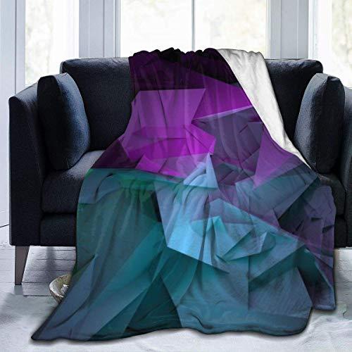 Verde y Púrpura Origami Ultra-Soft Fleece Blanket Franela Terciopelo Felpa Manta D3465