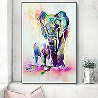 水彩象壁アートキャンバスプリント抽象的な壁落書きアート動物キャンバス絵画ポップ壁アートキャンバス70x140cm木枠付きの完成品