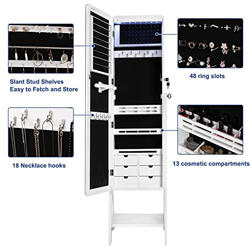 SONGMICS 8 LEDs Jewelry Cabinet with Bevel Edge Mirror Lockable Standing Armoire Organizer with 6 Drawers and Earring Board White Patented