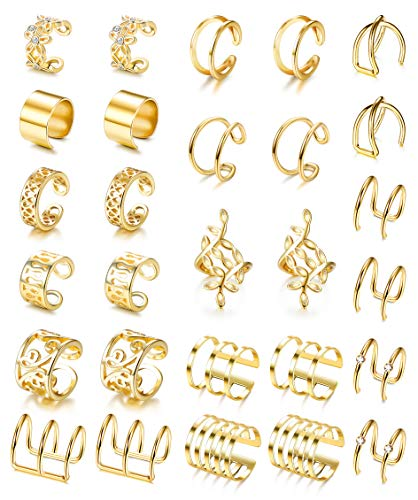 Besteel 14 Pairs Ear Cuff for Women Fake Lip Helix Cartilage Clip On Wrap Earrings Non Piercing Earrings Jewelry Set