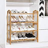 Lukzer 4 Layer Multifunctional Bamboo Wooden Shoe Rack Slipper Stand Chappal Shelf Household Storage Holder Organizer (66 x 66 x 24cm)