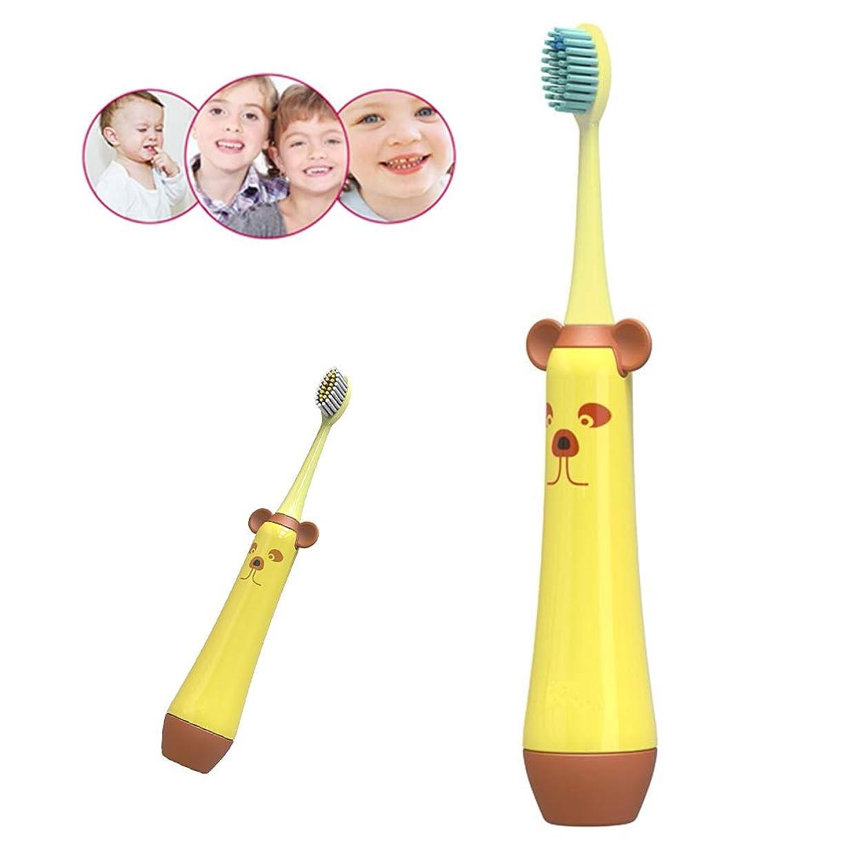 幼児裁判所発信歯ブラシヘッド変色リマインダー交換機能付きキッズ歯ブラシ、毎分15,000振動、5歳以上の子供に適した防水ベビーギフト