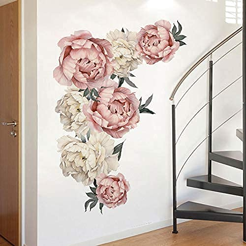 Decorative Wall Stickers, Peony Flower Pattern Wall Decals Floral Wallpaper. Art Applique Living Room Bedroom Study Decoration Background Sticker Home Decor