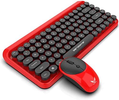 Teclado para juegos Elegante teclado inalámbrico portátil mecánica teclado for juegos de ordenador portátil Conjunto Manipulador Oficina Periférica rojo retro Teclado para juegos + ultrafino, duradero