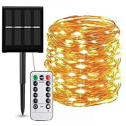 Cadena de luces solares para exteriores, luces de hadas solares de alambre de cobre a prueba de agua con 8 modos de iluminación Luces solares navideñas para jardín, fiesta (100 LED, 10 m)