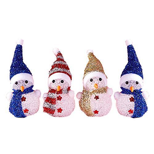 Kraeoke LED Schneemann, Weihnachten Deko LED Nachtlicht Schneemann, 4er Set (Farbe: Bunte)