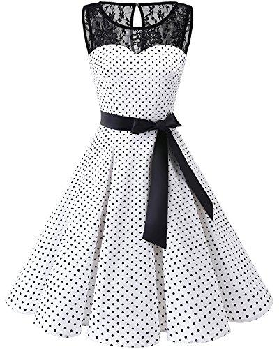 bbonlinedress 1950er Ärmellos Vintage Retro Spitzenkleid Rundhals Abendkleid White Black Dot L