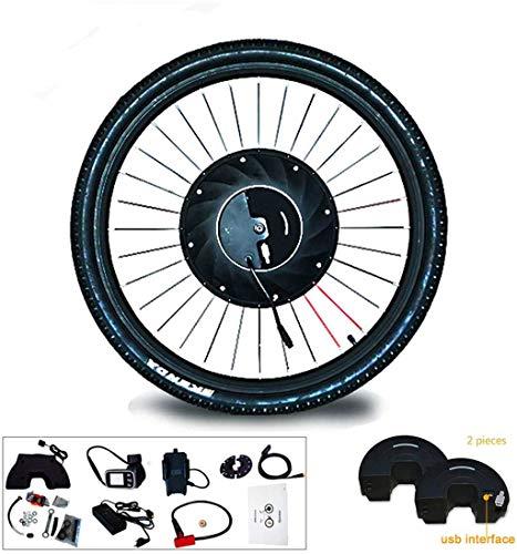 Umrüstsatz für Elektrofahrräder / Umrüstkit Naben-Motor-Rad Vorderrad Kit Electric Bike Conversion Kit mit Batterie alle in einer Fahrrad-Motor Smart-Wheel Kit 2020 (Farbe: V-Draht-Steuerung, Größe: 2