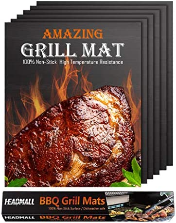 HEADMALL Grill Mat 6 Pcs 100 Non Stick BBQ Mats Easy to Clean for Barbecue Grilling Baking Electric product image