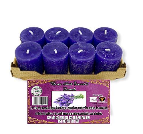 Pack 8 velas perfumadas aroma Lavanda + incienso en grano + pastilla...