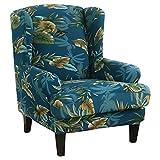JuneJour Ohrensessel Husse Sesselüberwürfe Schonbezug Elastische Sesselbezug Vintage Sofaüberwurf Stretch Schutzhülle mit Modern Muster Sessel Husse für Ohrensessel