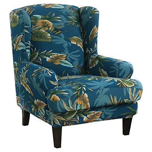 papasgix Ohrensessel Schonbezug, Elastische Sesselbezug Sesselüberwurf Sofaüberwurf Stretch Schutzhülle mit Modern Muster Sessel Husse für Ohrensessel(Marineblau)
