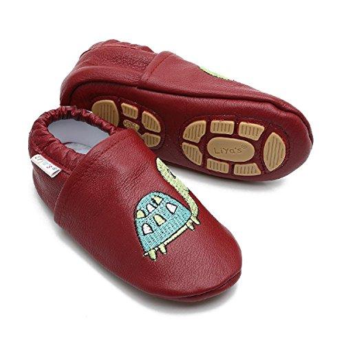 Liya's Babyschuhe Hausschuhe Exclusiv mit Gummisohle - #679 Schildkröte in rubinrot - Gr. 31/32