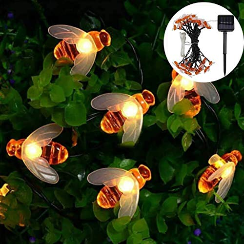 String Lights Solar Garden Lights, Honey Bee Fairy 8 Mode Waterproof Outdoor/Indoor Garden Lighting for Flower Fence, Lawn, Patio, Festoon, Summer Party, Christmas,Holiday(Warm White) 50LED