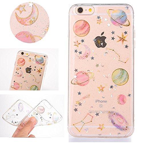 Sycode Custodia per iPhone SE 5S 5,Trasparente Glitter Stella Pianeta Morbida TPU Custodia Cover per iPhone SE 5S 5-Trasparente