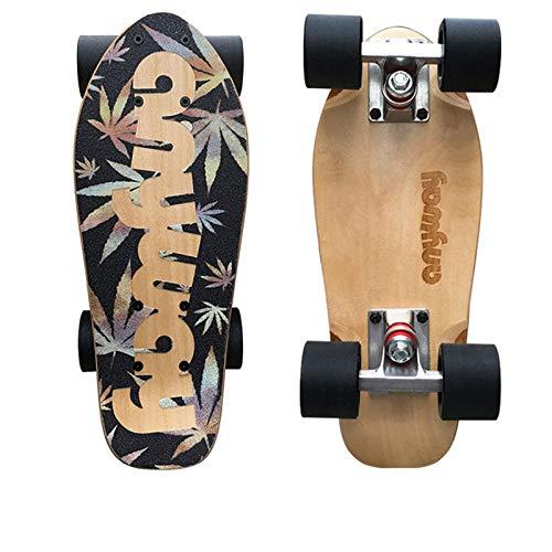 LHY Patinetas para principiantes para niños Mini Cruiser Fish Skateboard para niñas, niños, adolescentes, carretera, cepillo, calle, B