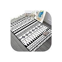 モダン ブラック/ホワイト カーペット リビングルーム ホーム装飾 寝室 カーペット ソファ コーヒー テーブル ラグ 勉強部屋 フロア マット キッズ クロール ラグ 120x180cm SB-122
