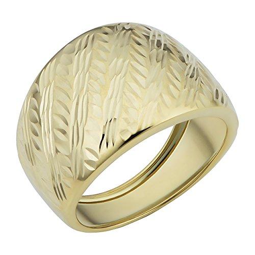 Kooljewelry 14k Yellow Gold Diamond-cut Cigar Band Ring (size 6)