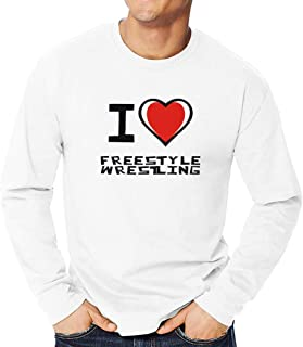 Teeburon I Love Wrestling Bicolor Heart Hoodie