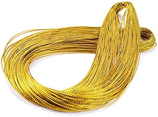 Gold String,Christmas String,100 M/109 Yards 1mm Metallic Cord Tinsel String Craft Making Cord for Wrapping,Hair Braiding and Craft Making