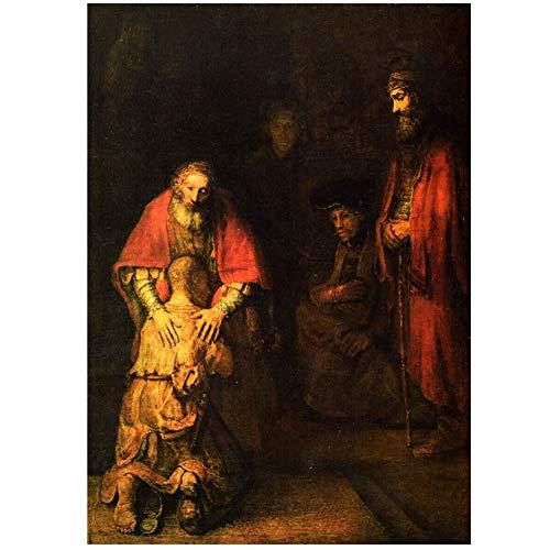 DNJKSA Rembrandt Die Rückkehr des verlorenen Sohnes Kunstplakat Druck auf Leinwand Kunstwerk Raumbilder Wohnzimmer Schlafzimmer Bilder Dekoration -50x75cm Kein Rahmen