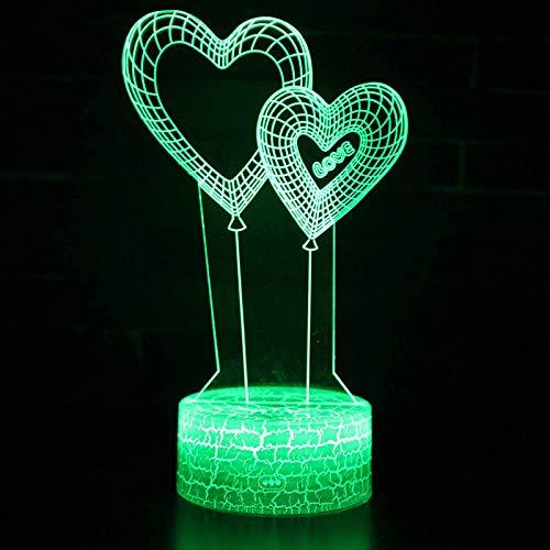 3D-lamp met dubbele hartvormige ballon, led-nachtlampje met afstandsbediening, 7 kleurwisselende touch, voor kindervakantiegeschenken en speelgoedverlichting, USB-stekker
