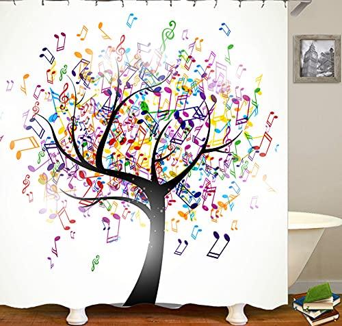 JOVEGSRVA Cartoon Musik Note Baum Duschvorhänge Wasserdicht Bad Gardinen Trennvorhang Schimmel Proof Bad Vorhang Mit 12 Haken 180 X 200 cm
