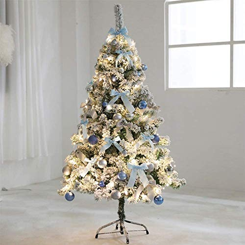 GPFFACAI Skinny Christmas Tree Barm Artificial Christmas Tree with Flocked Snow Decorations, with Lightweight Ornaments Metal Legs Fiber Optic Tree Classic for Indoor Holidays