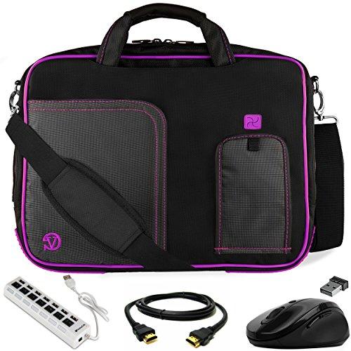 VanGoddy Pindar Purple Trim Laptop Bag w/HDMI Cable, Mouse & USB Hub for Lenovo Yoga 710 720 / ThinkPad Yoga 14 / IdeaPad 14 81CW 100S, 15 110 120S 14'-15.6inch