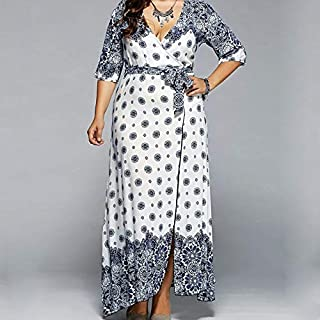 Dresses Popular Styles Printed V-neck Lace Big Swing Dress (Color : White, Size : 5XL)