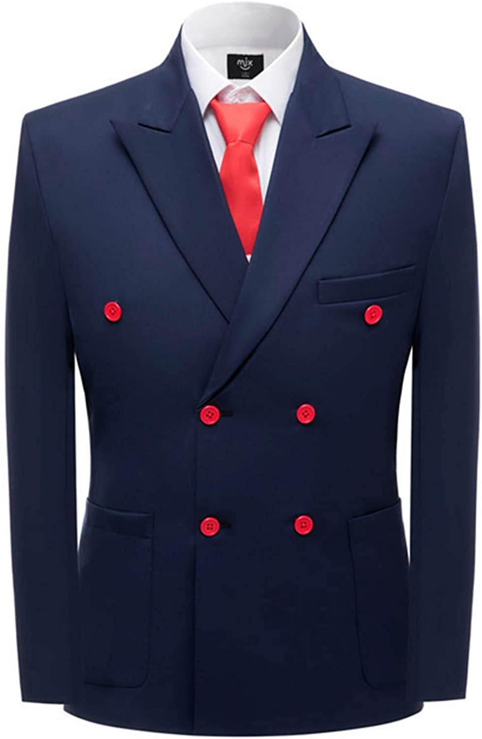 LILIS Men's Navy Blue OFFicial shop Double Breasted Pieces Popular product 2 Blaz Suits Formal