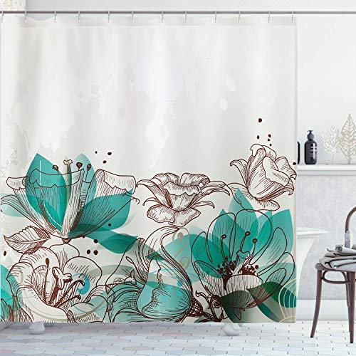 AMBZEK - Cortina de ducha con diseño de flores de color turquesa y flores retro con siluetas de hibisco, tela de tela para decoración de baño con 12 ganchos, 152 x 180 cm, color beige y verde azulado