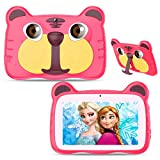 Kids Tablet, Android 10.0 Tablet for Kids, 7 inch 1024x600 HD IPS Eye Protection Screen, 1GB RAM+16GB ROM, with WiFi, Bluetooth, Dual Camera & Parental Control, Best Gift for Boys and Girls (Pink)