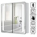 Warmiehomy LED beleuchteter Badezimmer Spiegelschrank mit Beleuchtung, Antibeschlag-Pad, Steckdose,...