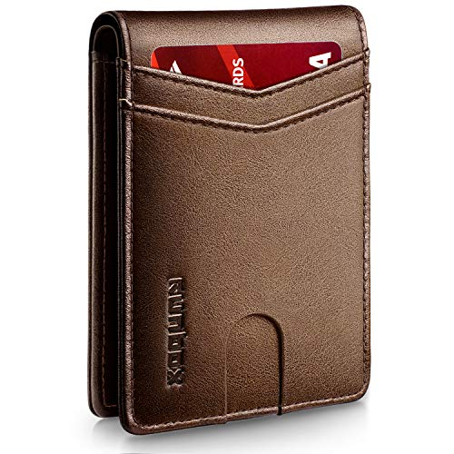 RUNBOX Slim Wallets for Men with RFID Blocking & Minimalist Mens Front...