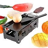 SHYEKYO Mini Raclette Grill Set No Resistente a Altas temperaturas Cómodo de Usar y Limpio para derretir Queso Negro