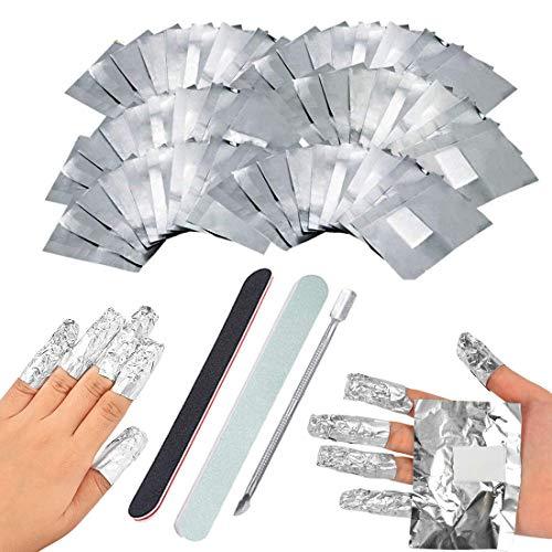 200 Stück Polish Remover Wraps Pads, Nagellack Remover Aluminiumfolie, Nagelhaut Schieber, Polierstange und Nagelfeile Streifen, Hilfsmittel zum einfachen entfernen von Nagellack