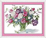 Punto de cruz Kit Bordados para niños y adultos Florero tulipán,16 x 20 pulgadas DIY costura punto de cruz set decoración de pared principiante(11CT)