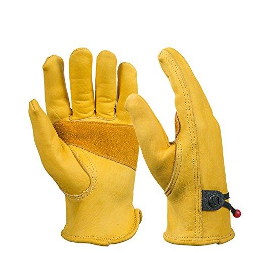 BearHoHo, guanti da lavoro, 1 paio, da uomo, interamente in pelle, chiusura con sfera e laccio, in pelle bovina con venature, giallo