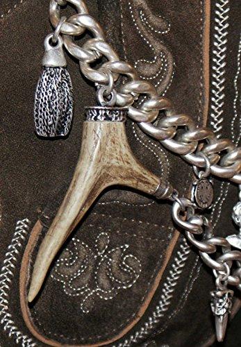 Charivari Kette Tracht Hirschhorn Hirsch Reh Horn Trachtenkette für Lederhose, hochwertige schwere Qualität echt versilbert! Handgefertigtes Unikat Herren Damen Made in Austria - 9