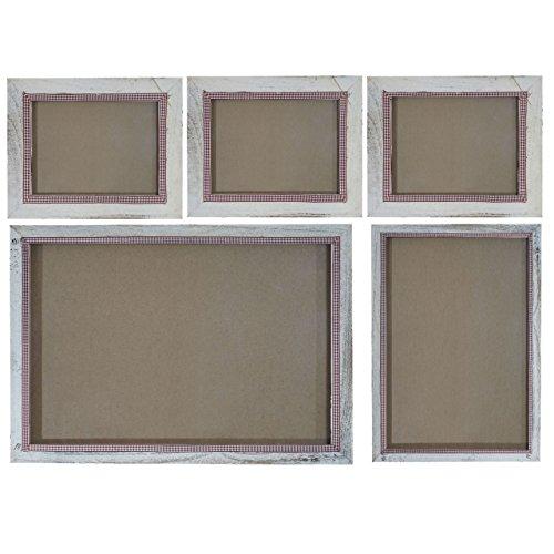 Mendler Bilderrahmen Set, Fotorahmen Wand-Rahmen, 3X 19x24cm 1x 26x36cm 1x 36x51cm Holz Shabby Landhaus ~ weiß