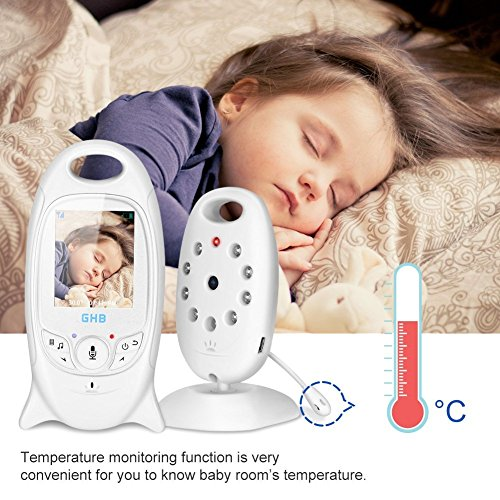 GHB Baby Monitor Camera Video Digital Security 2.4GHz 2 Way Realtime Audio Talk Night Vision Temperature Monitoring 2.0-Inch Display